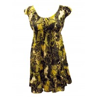 Green / Yellow  Bold Flower Print Floaty Indian Cotton Lizzy Blouse - Fair Trade
