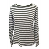 Fair Trade 100% Cotton Classic Stripey Green / White Ladies Long Sleeve Fitted T Shirt