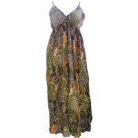 100% Soft Cotton Bold Earthy Brown Flower Patterned Long Louisa Summer Maxi Dress  - Fair Trade