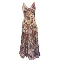 Bold Ethnic Print 100% Cotton Cream Annabel Summer Maxi Dress - Fair Trade