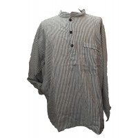 Black / White Striped 100% Cotton Collarless Grandad Shirt - Fairtrade