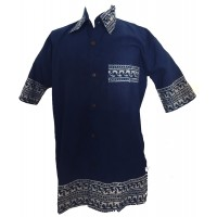 Blue Traditional Blockprint Cotton Mens Short Sleeve Shirt - Fair Trade