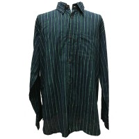 Blue / Green Striped Blockprint Cotton Mens Long Sleeve Shirt - Fair Trade