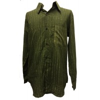 Light Green / Dark Green Striped Blockprint Cotton Mens Long Sleeve Shirt - Fair Trade