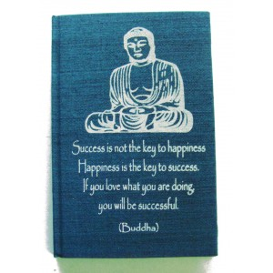 Blue Buddha Affirmation Hardback Notebook - Unlined Pure White Paper - 54 Sheets - Fair Trade