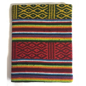 Fair Trade Handmade Lokta Paper Traditional Bhutanese Rainbow Fabric Notebook