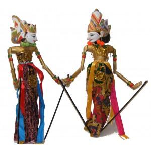 Genuine Traditional pair of Large Rama and Sinta Wayang Golek Rod Puppets