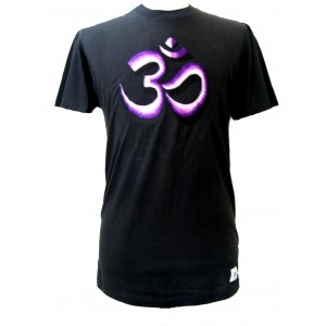 Fair Trade Embroidered Classic Purple Om T Shirt ( Black T Shirt)