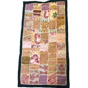 Rajasthani Embroidered Wall Hanging - Beautiful Pink / Brown Traditional Rajasthani Design - Unique Work of Art