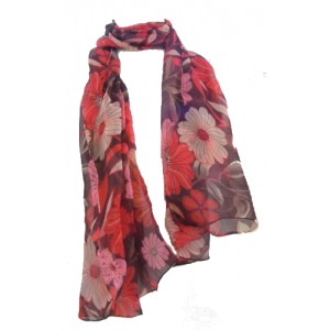 Fair Trade Red and Brown Flower Design Floaty Chiffon Scarf