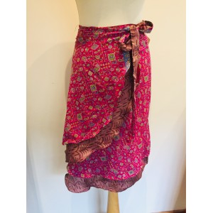 Fair Trade Short Sari Silk  Reversible Tiered Wrap Skirt - Feminine Hot Pink Design