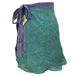 Fair Trade Short Sari Silk  Reversible Vintage Wrap Skirt - Blue / Green Design