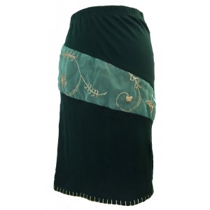 Fair Trade Green Stretchy Ophelia Jersey Skirt with Sari Detail