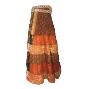 Fair Trade Tiered Full Length Sari Silk  Reversible Wrap Skirt - Orange / Brown Design