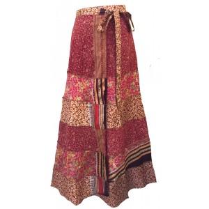 Fair Trade Tiered Full Length Sari Silk  Reversible Wrap Skirt - Red / Pink Design