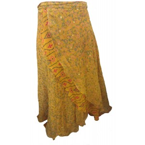 Fair Trade Full Length Sari Silk  Reversible Wrap Skirt -Yellow / Gold Design