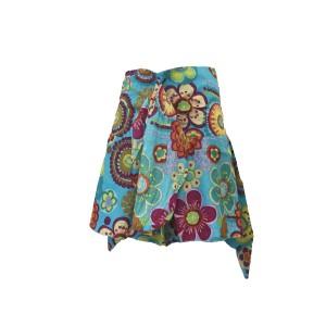Fair Trade Colourful Short Cotton Belinda Elasticated  Jungli  Skirt - Sky Blue
