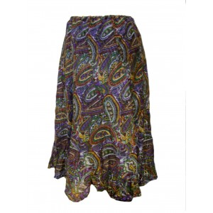 Fair Trade Cotton Jalabi Skirt - Purple Green Paisley Print