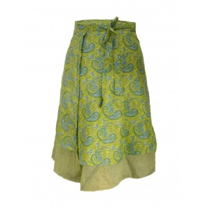 Fair Trade Double Layered Midi Length Swish Wrap Skirt - Lime with Pale Green Underskirt
