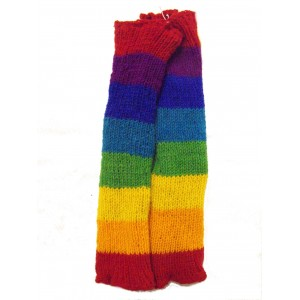 Handknitted Fair Trade Woollen Rainbow Fleece Lined Legwarmers