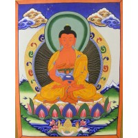 Genuine Original Tibetan Buddhist Thangka Painting -  Amitabha, the Buddha of Comprehensive Love - Fair Trade