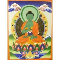 Genuine Original Tibetan Buddhist Thangka Painting - Amoghasiddhi, Buddha of the Conceptual Mind - Fair Trade