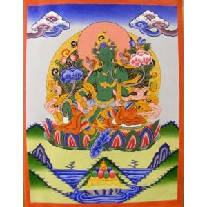 Genuine Original Tibetan Buddhist Thangka Painting - Green Tara,  Goddess of Youthful Activity- Fair Trade