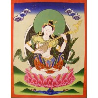 Genuine Original Tibetan Buddhist Thangka Painting -  Saraswati , Goddess of Knowledge and Wisdom  - Fair Trade