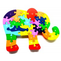 Colourful Wooden Jigsaw Puzzle - Elephant Design - Fairtrade - Suitable for both adults and children