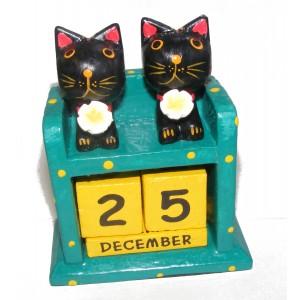 Fair Trade Perpetual Wooden Cat Calendar