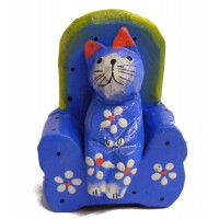 Quirky Fair Trade Wooden Cat in Armchair