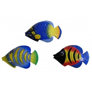 Fair Trade Hand Painted Colourful Balinese Kissing Fish Fridge Magnets ( pack of 3)