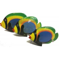 Shoal of 3 Colourful Wooden Hand painted Balinese Tropical Kissing Fish Ornament