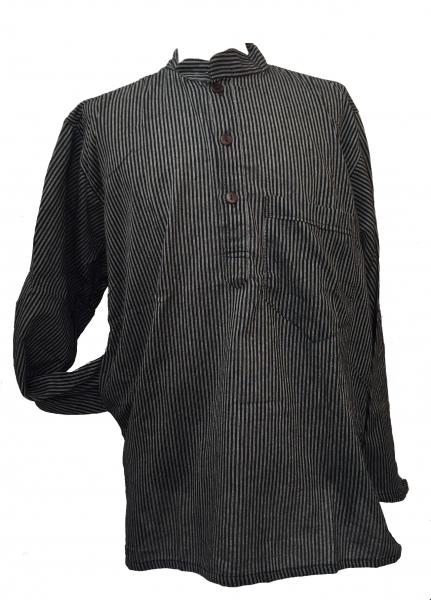Black / Grey Striped 100% Cotton Collarless Grandad Shirt - Fairtrade