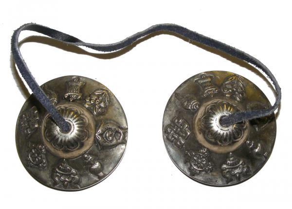 Eight Auspicious Signs Tibetan Buddhist Tingsha ( Buddhist cymbals) with satin carry bag  - Fair Trade