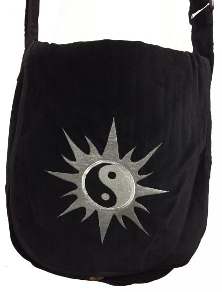 Hand Made Large Black Velvet Yin Yang Shoulder Bag - Fair Trade