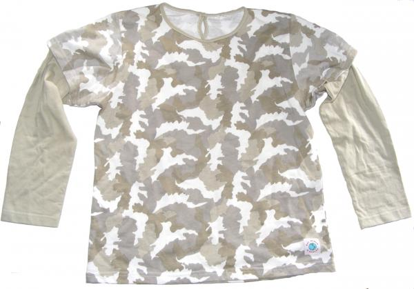 Kids White Grey Green Camouflage Long Sleeve T Shirt Ages 5 - 10 - Fair Trade