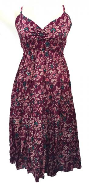 Maroon Abstract Floral Patterned Toto Short Summer Dress - Fair Trade 100% Cotton