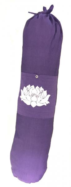 Colourful Cotton Yoga Mat Bag with Shoulder Strap - Lotus Flower Print - Fair Trade comes in Blue, Purple or Red