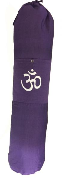 Colourful Cotton Yoga Mat Bag with Shoulder Strap - Om Print - Fair Trade comes in Blue, Purple or Red